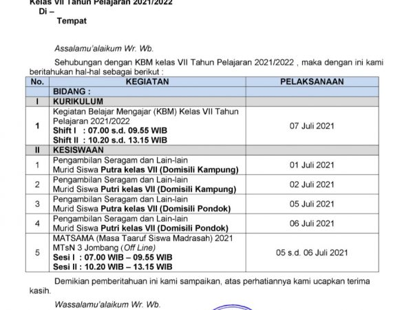 Pemberitahuan Informasi KBM Kelas VII tahun pelajaran 2021/2022