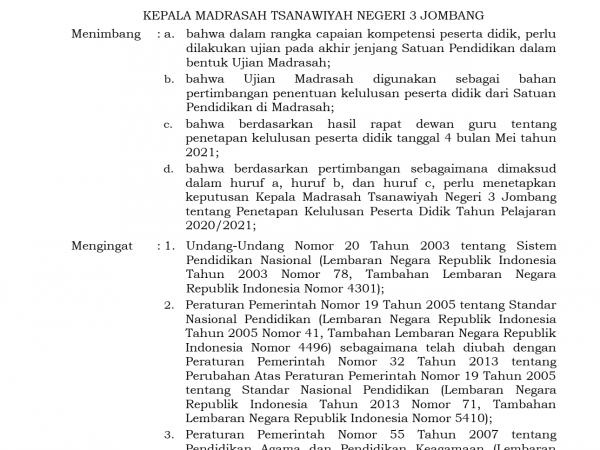 PENETAPAN KELULUSAN PESERTA DIDIK MTSN 3 JOMBANG TAHUN PELAJARAN 2020/2021